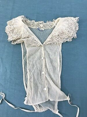 Vintage Mixed Lace Blouse Dickie 30s Edwardian Net Lace and Irish Crochet