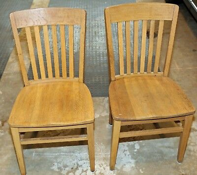 Set of Two Oak Chairs ~ Heavy Duty, From a Library ~ 50-60's ~ Pickup Only