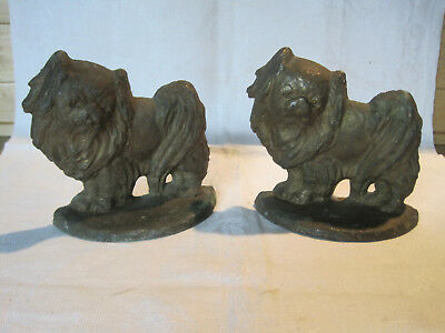 Antique vintage cast bronze Pekingese Dog bookends or doorstops