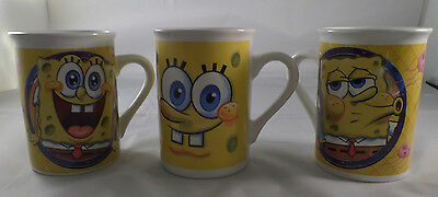 Sponge Bob Mugs Collectible Viacom Set Of 3 Perfect Condition (Displayed Only)