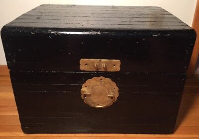 Vintage Black Wood Chest Ornate Etched Brass Handle Asian Mid Century
