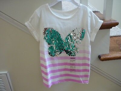 2a1a06b62b79e NWT GIRLS SILVER Sequin Butterfly Pullover Top Size 4 Short Sleeves Cotton  -  4.99