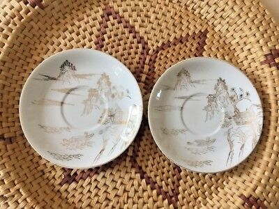 Japanese Saucer Plates  Watts Ware on the backs of the Plates
