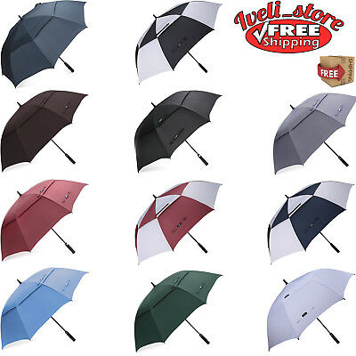 Golf Umbrella 62 Inch Windproof Double Canopy Big Vented Extra Large Oversize