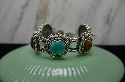 "8"" Graziano Chunky Silver Plated Beaded Turquoise Tigers Eye Carnelian Bracelet"