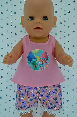 """Play n Wear Doll Clothes To Fit 17"""" Baby Born FLORAL PANTS~PINK TOP"""