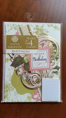 Anna Griffin On Your Birthday Cardmaking Kit Makes 4 Cards NEW