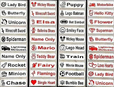 Personalised Stick On Name Labels Stickers Tags, For School, Kids Waterproof