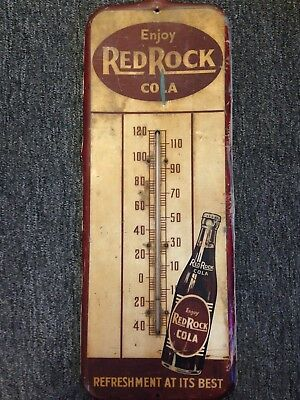 Metal Red Rock Cola Thermometer Soda Sign