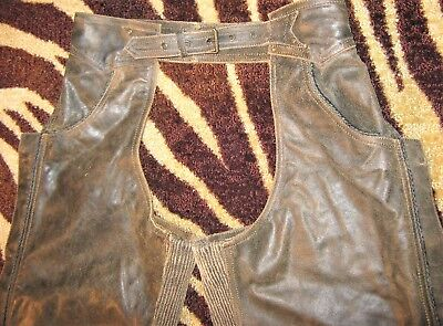women's HARLEY DAVIDSON Leather Chaps BILLINGS RUMBLE Distressed BROWN L Large