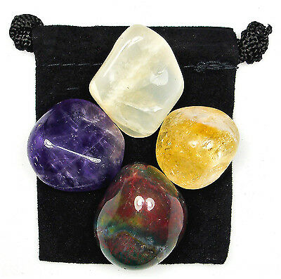 PSYCHIC INTUITION Tumbled Crystal Healing Set = 4 Stones + Pouch + Description