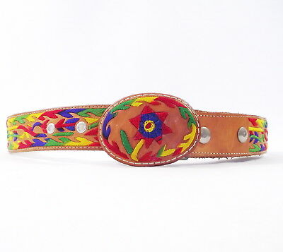 """VTG 60's-70's Multi Color Unisex Leather Belt With Floral Embroidery Sz.32""""- 36"""""""