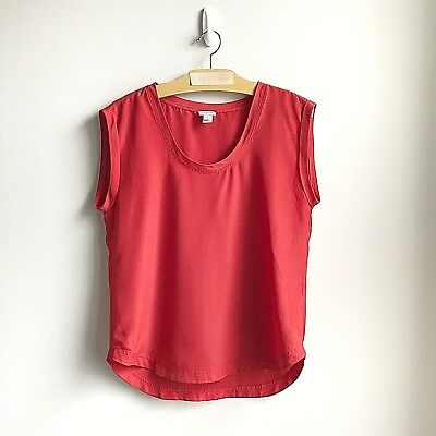 25d74aba6e60a J. Crew Factory Womens Drapey Scoopneck Top Blouse Orange Red Size 6 Style  F1056