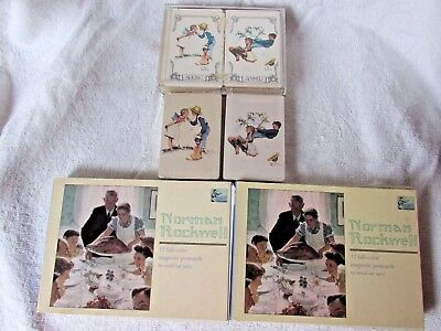 Norman Rockwell Lot Playing Cards ~ 2 Books Of Postcards ~ Puzz-A-Plate Puzzle