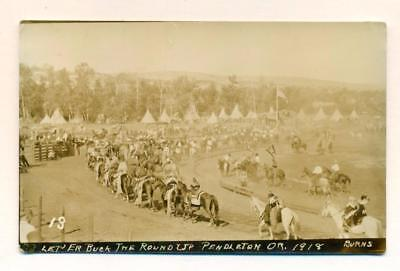VINTAGE 1918 NATIVE AMERICAN INDIAN S, TEEPEE CAMP, RODEO Pendleton OR, ROUND-UP