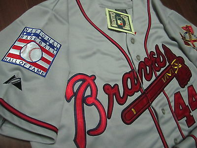 0b6bce816 Brand New Majestic Atlanta Braves  44 Hank Aaron Gray Dual Patches Jersey  Men M