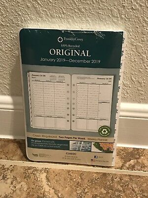 Franklin Covey Original 2019 Planner Refill 2 Page Per Week Size 4 Classic White