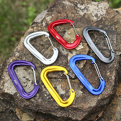 Hot New Aluminium Spring Clip Carabiner Hook Quickdraw Tackle 12KN