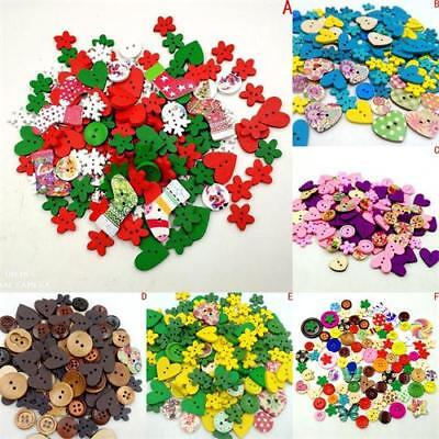 100 Pcs Wood Buttons 2 Holes Heart/Flower Pattern Sewing Scrapbooking Colorful-