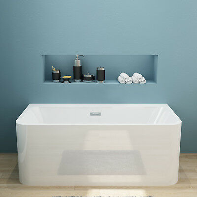 Back to Wall Free Standing Acrylic Bath Tub 1500x750x580 pop-up waste & overflow