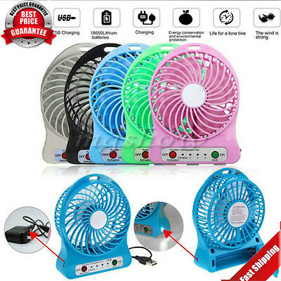 Rechargeable LED Fan air Cooler Mini Operated Desk USB + Battery HA