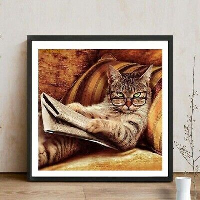 UK DIY Cat /&Tiger 5D Diamond Painting Cross Stitch Rhinestone Embroidery LE