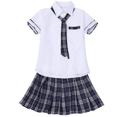 School Girls Uniform Crop Top Skirt Womens Student Night Clubbing Party Costume