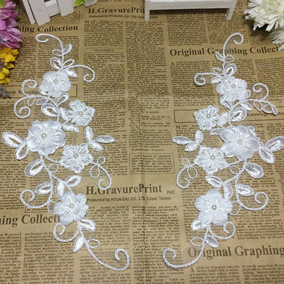DIY White Flowers Lace Applique Wedding accessories Trim Embroidery Accessories