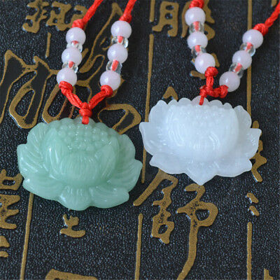2pcs Jade Carved Lotus Flower Necklace Pendant  Beads Rope Chain Lucky Amulet