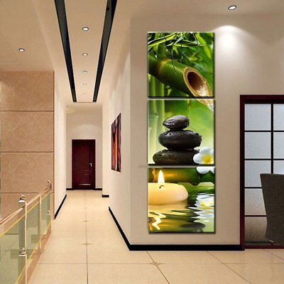 3pcs Stone Bamboo Painting Canvas Print Pictures Home Room Wall Decor Unframed