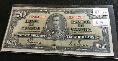 Canada 1937 $20 Dollar Bill EF Coyne-Towers K/E Very Nice High Grade Banknote