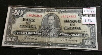 Canada 1937 $20 Dollar Bill EF Coyne-Towers J/E Very Nice High Grade Banknote