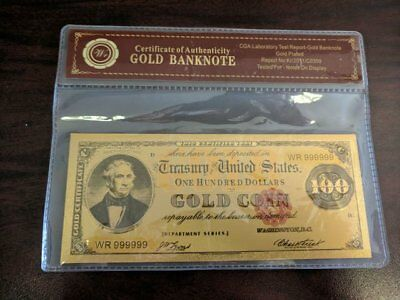 Limited 99.9% 24K Gold Foil Polymer Collectors 1882 US $ 100 with COA