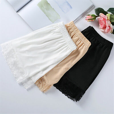 Women Lace Safety Short Pants Skirt Under Briefs Shorts Slips Ice Sil Home Sex