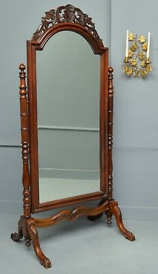 Imposing Victorian Carved Mahogany Cheval Mirror On Stand