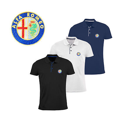 Alfa Romeo Polo T Shirt EMBROIDERED Auto Car Logo Slim Fit Tee Gift Mens Clothes