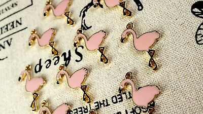 Flamingo bird charm 3 gold and pale pink pendant jewellery supplies