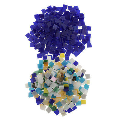 500X Multicolor Square Glass Pieces Mosaic Tiles for Art Decor Craft Making
