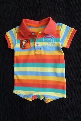 Baby clothes UNISEX BOY GIRL 0-3m M&S bright stripes collar romper SEE SHOP!