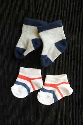 Baby clothes BOY 0-3m x2 pairs of short socks, cotton-rich stretch SEE SHOP!