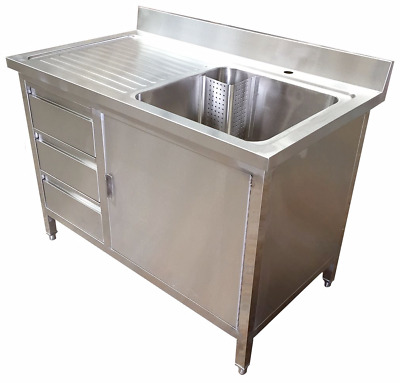 1200mm x 700mm COMMERCIAL STAINLESS STEEL SINK WITH CUPBOARD AND DRAWERS - SALE!