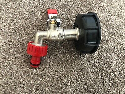 """IBC Tank Cap  with Brass Tap & 1/2"""" Snap On Connector, Water Butt Hose Pipe"""