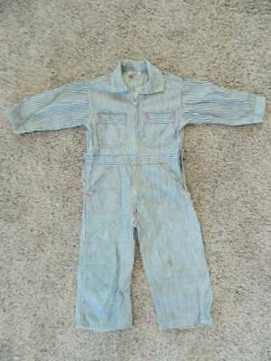 Vtg childrens railroad stripe denim drop seat overalls