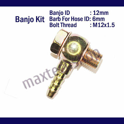 "M12X1 5 6MM 1/4"" Barb Banjo Bolt Washer Fitting Kit Brake Line Fuel Hose  Motor"