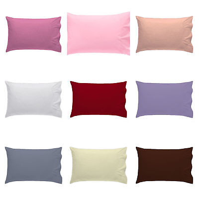 """Pack of 2 PLAIN DYED POLY COTTON NURSERY BABY COT PILLOW CASES PAIR 16"""" X 24"""""""