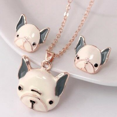 Lovely Animal Puppy Dog Pendant Necklace Stud Earrings Womens Jewellery Set 3pcs