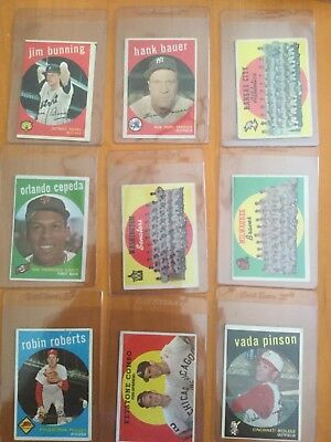 1959 Topps Baseball Cards Lot of 9 different with Stars lower grade