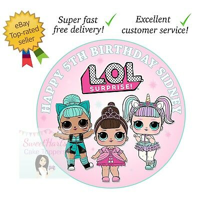 00b867e44e73 Lol Surprise Dolls Cake Topper Edible Printed Icing Round Cake Decoration  (D2)