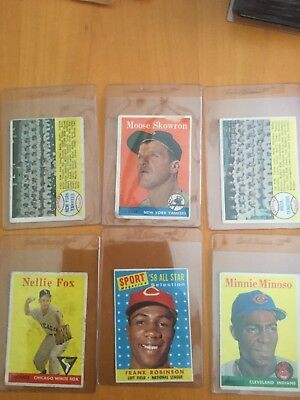 1958 Topps Baseball Cards Lot of 6 different with Stars lower grade