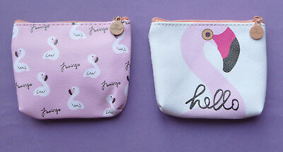 FLAMINGO Girls Childrens Zip Coin Purse 2 designs party bag filler Cute NEW